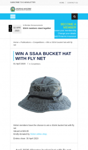 SSAA – Win a Ssaa Bucket Hat With Fly Net (prize valued at $39.95)