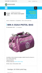 SSAA – Win a Ssaa Pistol Bag (prize valued at $79.95)