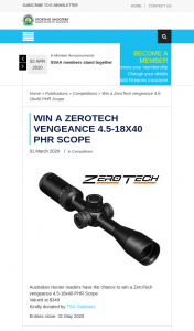 SSAA – Win a Zerotech 4.5-18×40 Phr Scope (prize valued at $349)
