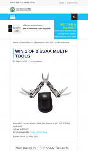 SSAA – Win 1 of 2 Ssaa Multi-Tools (prize valued at $39.95)