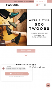 Twoobs – Win 1 of 500 Pairs of Twoobs Shoes for Those Who Have Lost Thier Jobs