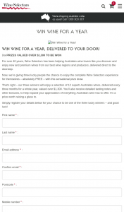 Wine Selectors – Win Wine for a Year (prize valued at $1,300)