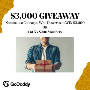 GoDaddy – Win a major prize of a $2,000 Mastercard Gift Card OR 1 of 5 runners-up prizes of a $200 voucher each