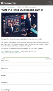 ABC Entertains Me – Win The Hard Quiz Board Game (prize valued at $39)