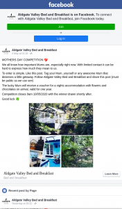 Aldgate Valley Bed and Breakfast – Win an Overnight Stay 9am
