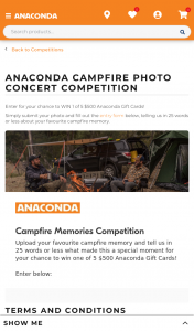 Anaconda Campfire Concert Photo Competition – Win One of 5 $500 Anaconda Gift Cards (prize valued at $2,500)