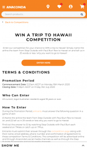 Anaconda – Win a Trip to Hawaii (prize valued at $8,812)