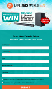 Appliance World Online – Win a Hisense Hs512 5.1 Channel Dolby Atmos Sound Bar & Sub Woofer (prize valued at $799)