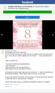 Arabella & Rose – Win a $500 Arabella and Rose Voucher Come Celebrate With Us (prize valued at $500)