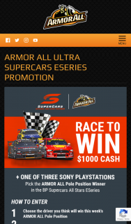 Armour All AU_NZ – Win $1000 Cash One of Three Sony Playstations By Picking The Armor All Pole Position Winner In The Final Three Rounds of The Bp Supercars All Stars Esports (prize valued at $439)
