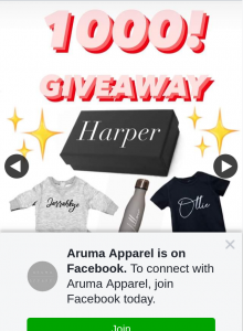 Aruma Apparel – Win Personalised Giveaway