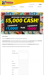 Australian Puzzler – Win Au$1000 Awarded In The Form of a Cheque Made Payable In The Winner's Name (prize valued at $5,000)