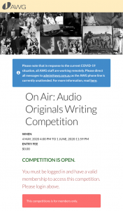 Australian Writers Guild – Win 6 Hour Podcast Concept) (prize valued at $20,000)