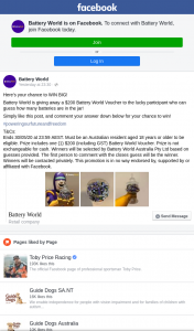 Battery World – One (1) $200 (including Gst) Battery World Voucher (prize valued at $200)