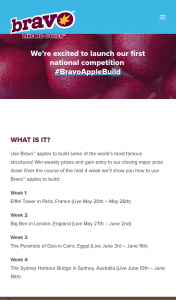 Bravo Apples – Win 1 of 12 $100 Visa Gift Cards /- $750 Cash & Two Ipads (prize valued at $1,200)