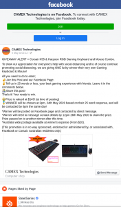 Camex Technologies – Win a Corsair K55 & Harpoon Rgb Gaming Keyboard & Mouse Combo (prize valued at $149)