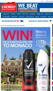 Chemist Warehouse – Rexona – Win 2 Flights to Monaco