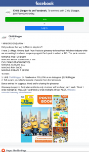 Child Blogger – Win 1/2 Mega Minions Book Prize Packs (prize valued at $85)