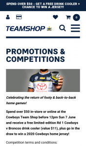 Cowboys Leagues Club – Purchase over $50 to – Win a 2020 Cowboys Home Jersey