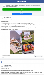 Fortfull Events – Win Our Tent Hire for The Day