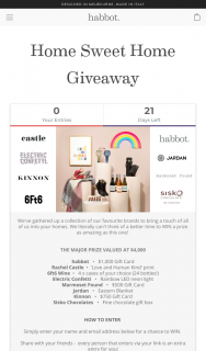 habbot – Win As Amazing As this One (prize valued at $4,000)