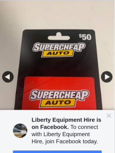 Liberty Equipment Hire – Win a $50 Supercheap Auto Gift Card (prize valued at $50)