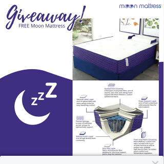 Moon Mattress – Win an Original Moon Mattress In Any Size They Choose (prize valued at $1,249)