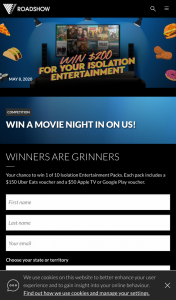 Roadshow – Win 1 of 10 Isolation Entertainment Packs (prize valued at $2,000)