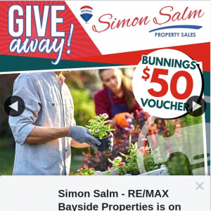Simon Salm Re-Max Bayside Properties – Win a $50 Bunnings Voucher