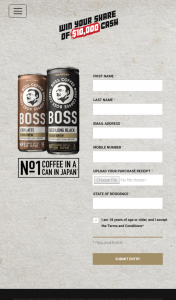 Suntory Boss Coffee – Win a $1000 Eftpos Card (prize valued at $10,000)