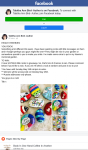 Tabitha Ann Bird Author – Win I'll Select a Rock at Random and Post It Out to You