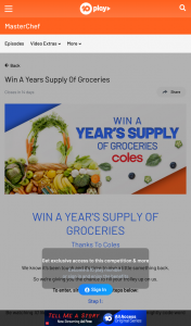 Channel Ten – 10 News First / Masterchef – Win a Year's Supply of Groceries Thanks to Coles