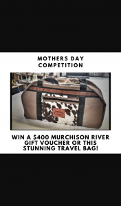 Win a Murchison River Brown Cow Travel Bag for Mothers Day (prize valued at $400)