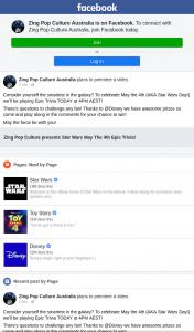 Zing Pop Culture – Win Star Wars Prizes Starts 4pm