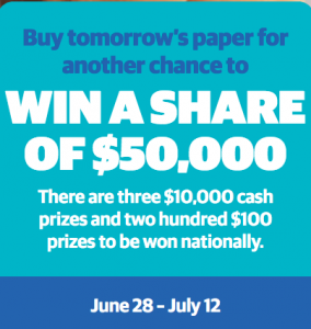 Bank Balance Boost – Win 1 of 3 major prizes of $10,000 each and 1 of 200 minor prizes of $100 each
