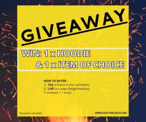 EightTwelve Co – Win a Hoodie PLUS an item of choice