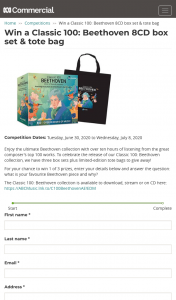 ABC Entertains Me – Win a Classic 100 Beethoven Box Set & Tote Bag