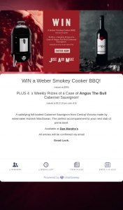 Angus The Bull – Win a Weber Smokey Cooker Bbq (prize valued at $113.1)