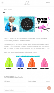 AP Aquatic – Win an Aquaplane Swim Aid In Your Choice of Colour Simply Complete The Form Below