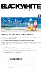 Black & White Studios – Win $2000 Travel Gift Card to Spend Towards Your Next Family Holiday