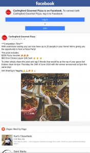 Carlingford Gourmet Pizza – Win a $200 Pizza Voucher and a $60 First Choice Liquor Gift Card (prize valued at $260)