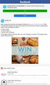 Cavill Lane Surfers Paradise – Win a Dinner for Four Including Pizza (prize valued at $150)