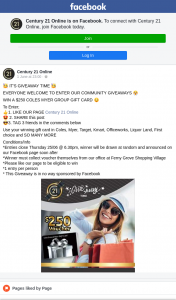 Century 21 Online – Win a $250 Coles Myer Group Gift Card (prize valued at $250)