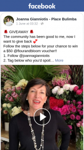 Joanna Gianniotis Place Bulimba – Win a $50 @flourandbloom Voucher (prize valued at $50)