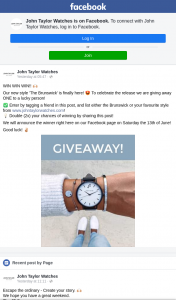 John Taylor Watches – Win a The Brunswick Watch