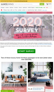 Luxo Living – Win 1 of 2 $10000 Luxury Home Furniture Packages (prize valued at $20,000)