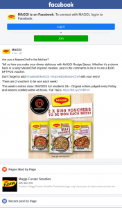 MAGGI – Win a $100 Eftpos Voucher (prize valued at $1,000)