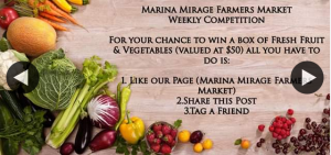Marina Mirage Farmers Market – Win a Box of Farm Fresh Fruit & Vegetables (valued at $50). (prize valued at $50)