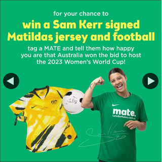Mate – Win an Australian Jersey and FooTBall Personally Signed By Mate Ambassador and Matildas Captain Sam Kerr