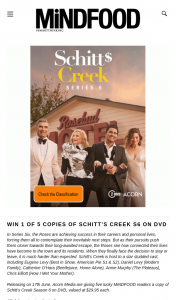 MindFood – Win 1 of 5 Copies of Schitt's Creek S6 on DVD (prize valued at $29.95)